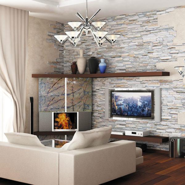 Фото 2 - сочетание декоративной штукатурки и искусственного камня в отделке стен зала
