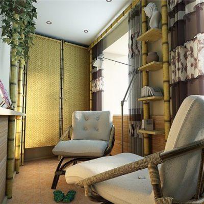 Фото 2 - интерьер балкона в эко стиле