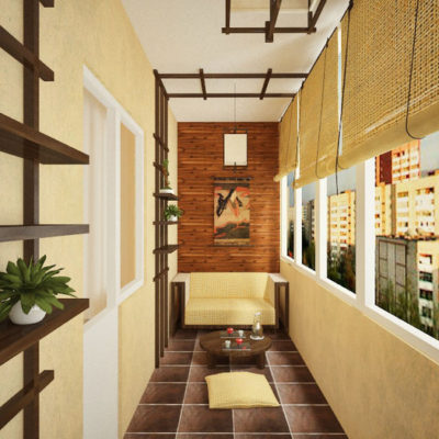 Фото 3 - дизайн балкона в японском стиле
