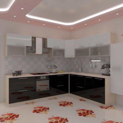 Фото 5 - цветочный принт на кухонном полу