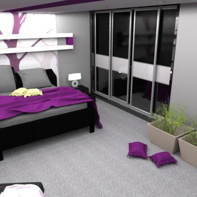 Фото 9 - организация гардероба в спальне при помощи раздвижных дверей