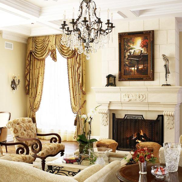 Фото 2 - классический стиль в интерьере гостиной