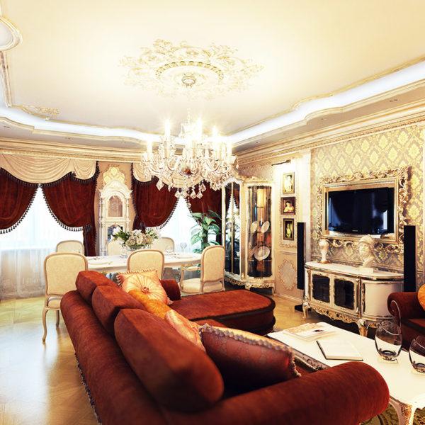 Фото 4 - дизайн зала в классическом стиле