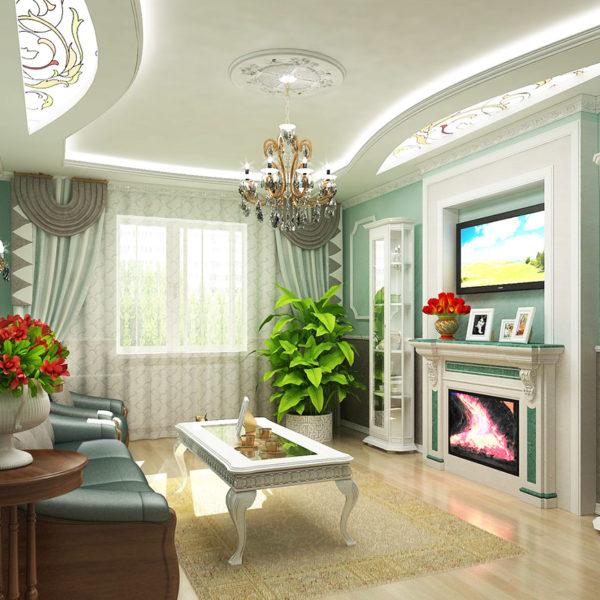 Фото 3 - ремонт зала в квартире в классическом стиле