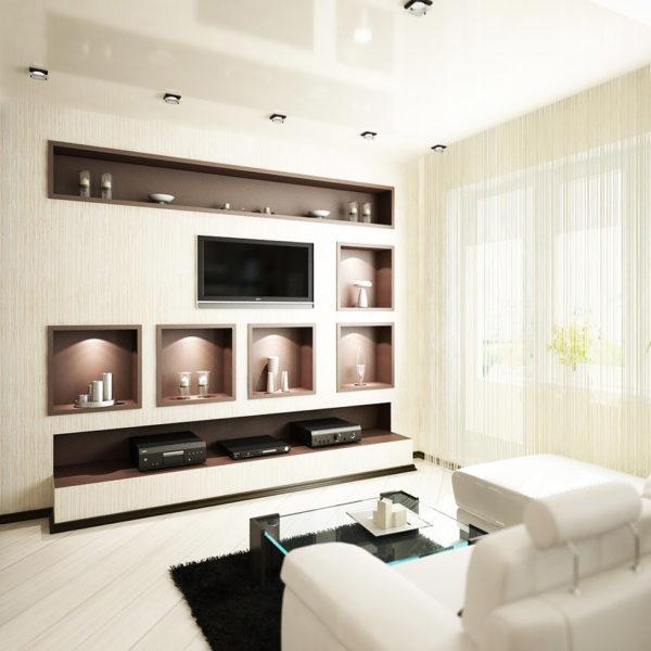 Фото 1 - ремонт зала в квартире в стиле хай-тек