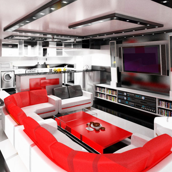 Фото 4 - дизайн зала в стиле хай-тек