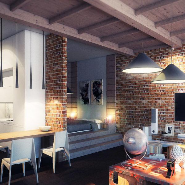 Фото 1 - ремонт зала в частном доме в стиле лофт