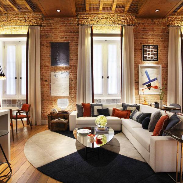 Фото 3 - лофт в дизайне интерьера зала