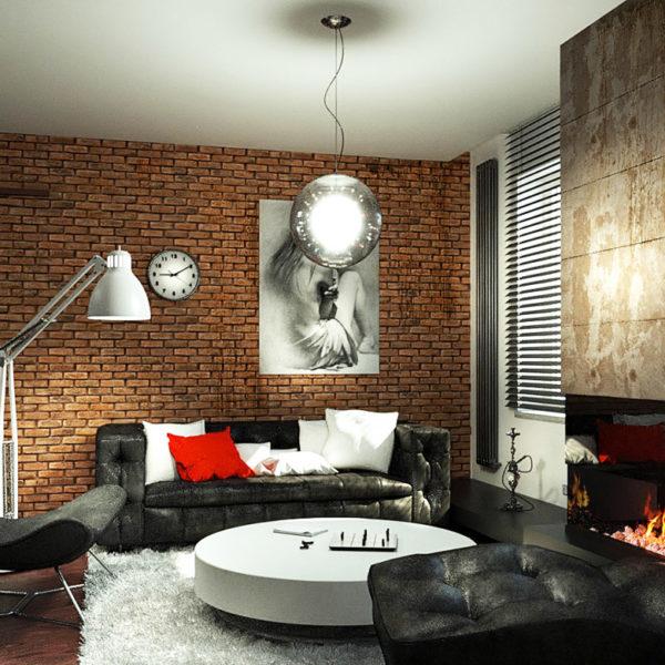 Фото 4 - дизайн зала в стиле лофт