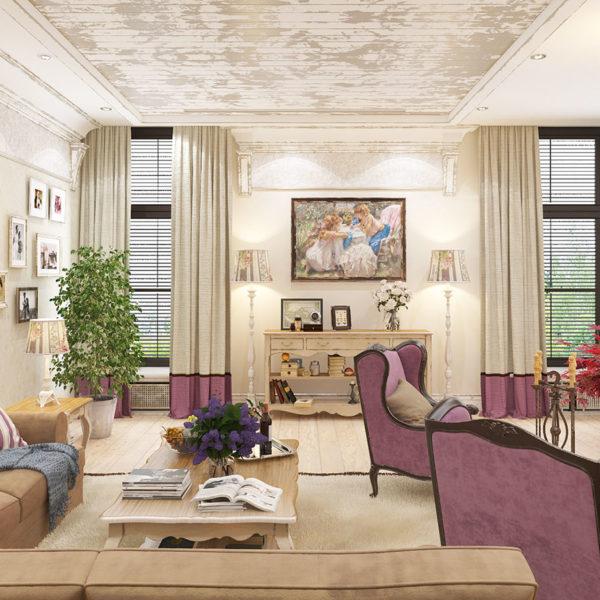Фото 3 - дизайн зала в стиле прованс