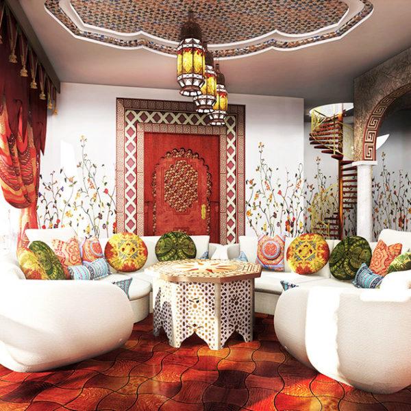 Фото 1 - гостиная в среднеазиатском стиле