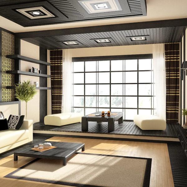 Фото 2 - ремонт зала в японском стиле