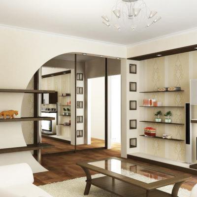 Фото 3 - комбинация арки и перегородки в зонировании 1 комнатной квартиры