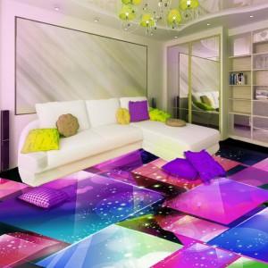 Наливной трехмерный пол в интерьере 1 комнатной квартиры