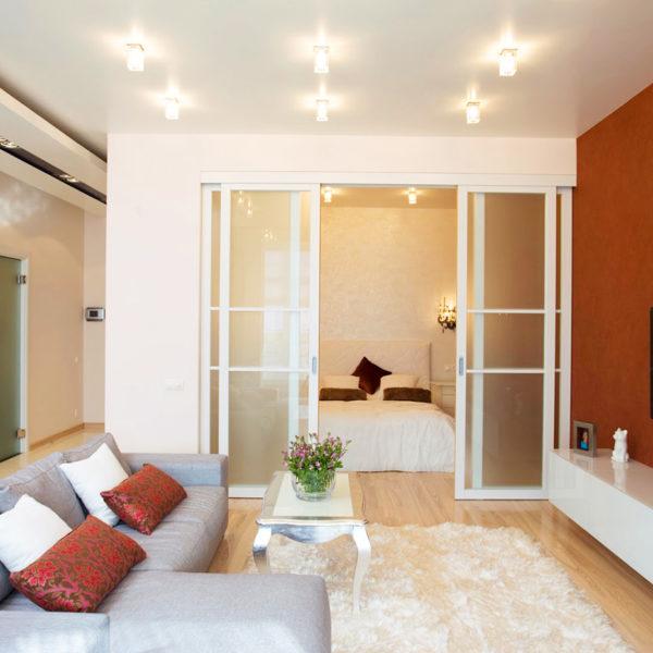 Фото 1 - раздвижные двери в интерьере однокомнатной квартиры