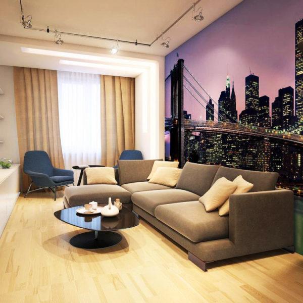 Фото 2 - урбанистические фотообои в интерьере гостиной