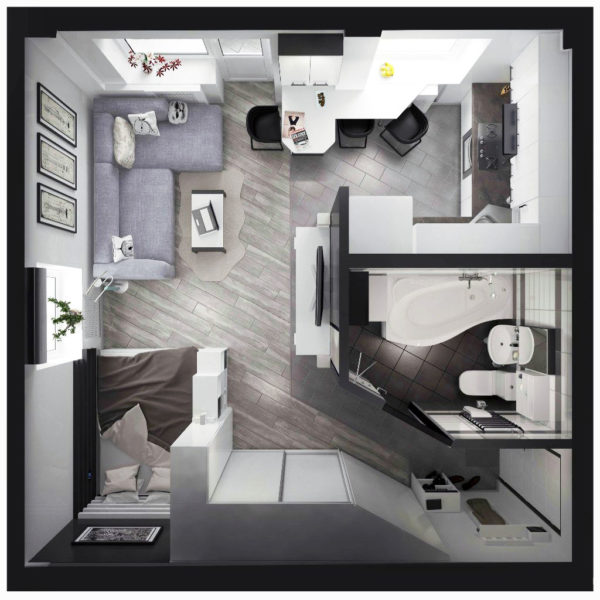 Фото 1 - перепланировка хрущевки в квартиру-студию
