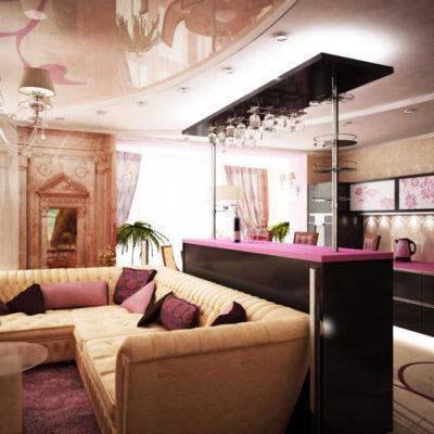Фото 4 - барная стойка элегантно отделяет кухню от зала