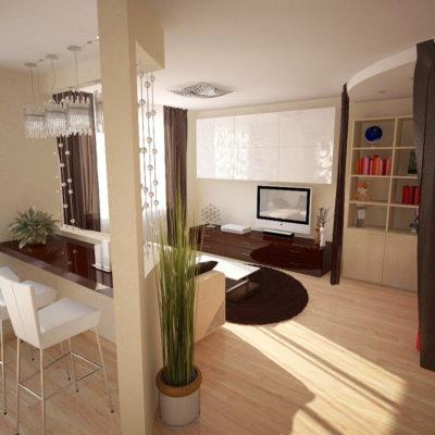 Фото 4 - штора-перегородка в интерьере квартиры-студии
