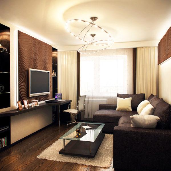 Фото 1 - расстановка мебели в небольшой гостиной