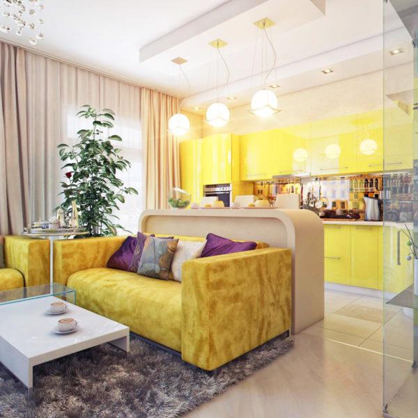 Фото 1 - мебель в зонировании однокомнатной квартиры