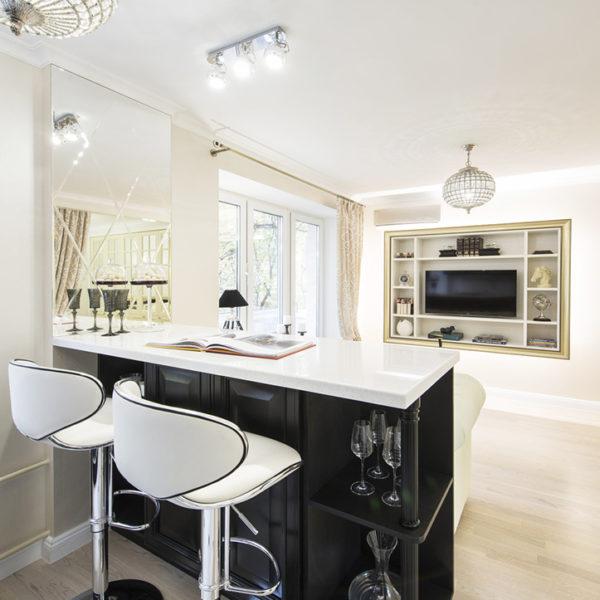 Фото 2 - барная стойка в дизайне интерьера 1 комнатной квартиры