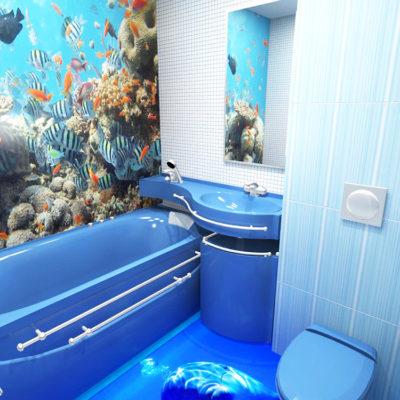 Фото 1 - наливные 3d полы в ремонте ванной