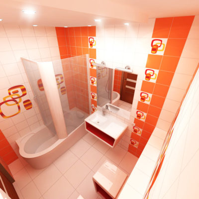 Фото 4 - яркий дизайн ванной в оранжево-белых цветах
