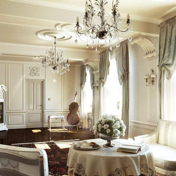 Фото 4 - ремонт гостиной в квартире в классическом стиле