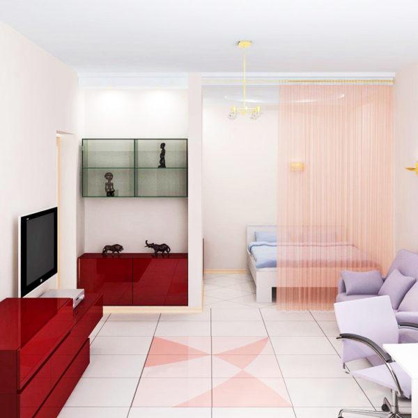 Фото 1 - зонирование спальной зоны шторами