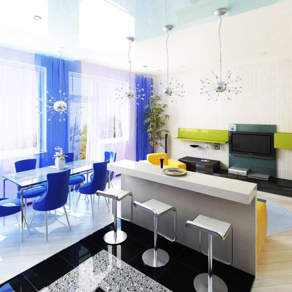 Фото 2 - зонирование обеденной зоны синим цветом