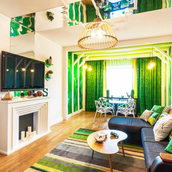 Фото 1 - цветовое зонирование в дизайне однокомнатной квартиры