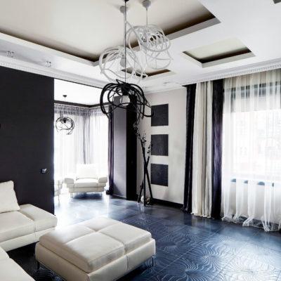 Дизайн квартиры в черно-белом цвете