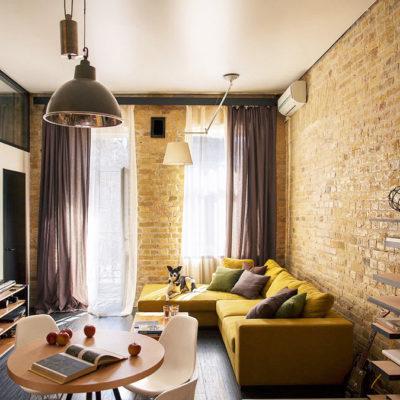 Фото 3 - дизайн маленькой гостиной в стиле лофт