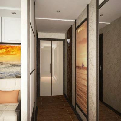 Фото 6 - большое изображение за стеклом и зеркало зрительно расширяют узкий коридор