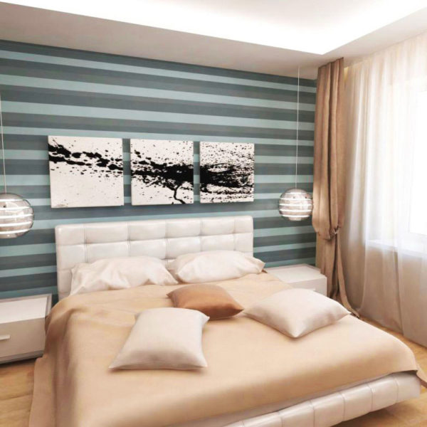 Фото 1 - горизонтальные полосы расширяют узкую спальню