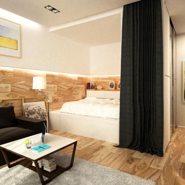 Фото 2 - использование штор в зонировании спального места